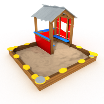 zandbak met speelhuisje