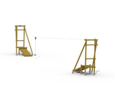 Houten kabelbaan met twee startplateau's